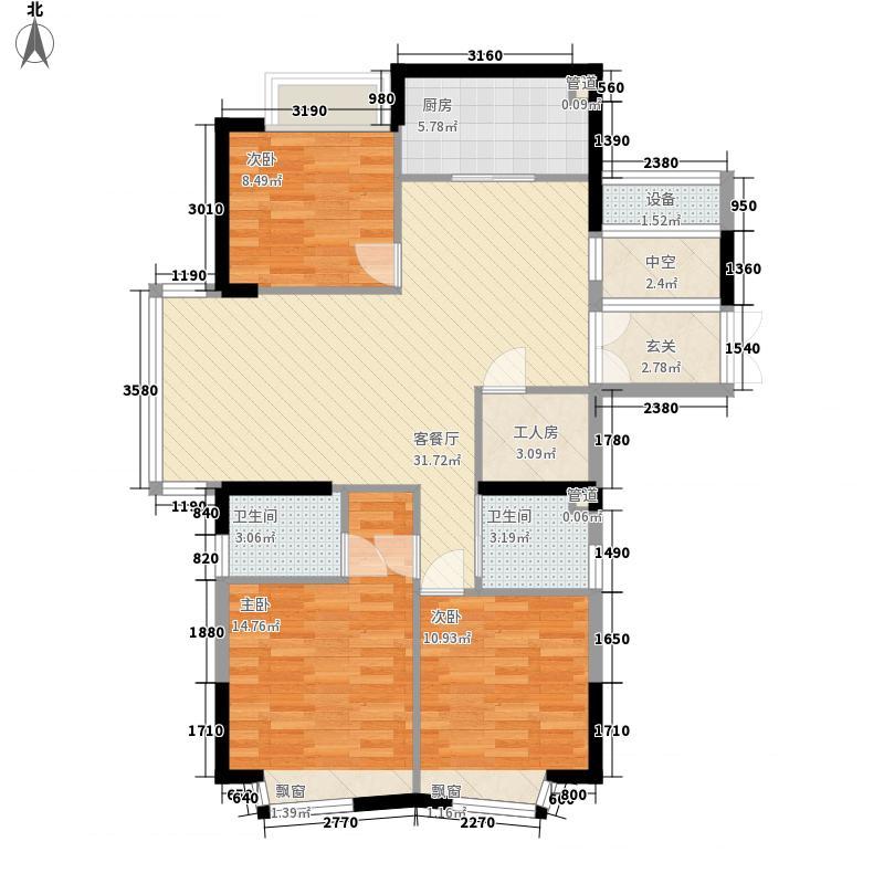 永兴郦江125.00㎡1号楼03御江苑户型3室2厅2卫1厨