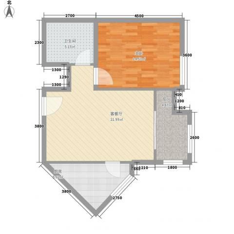 星河城三期1室1厅1卫1厨74.00㎡户型图