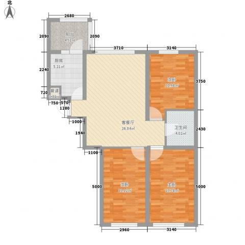 亿达帝景3室1厅1卫1厨111.00㎡户型图