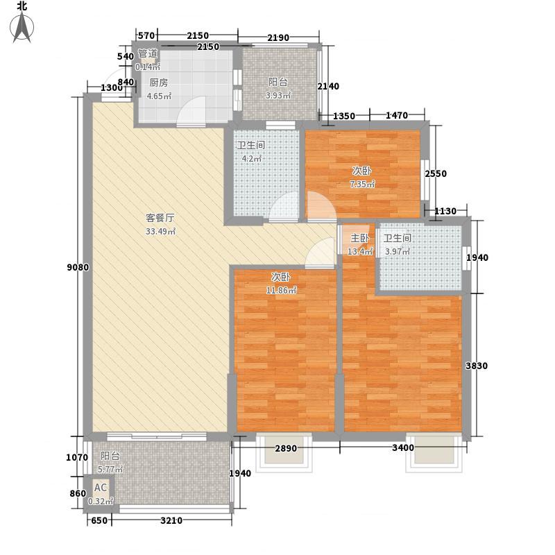 江南名居128.00㎡江南名居户型图荣苑2-13A层013室2厅2卫户型3室2厅2卫