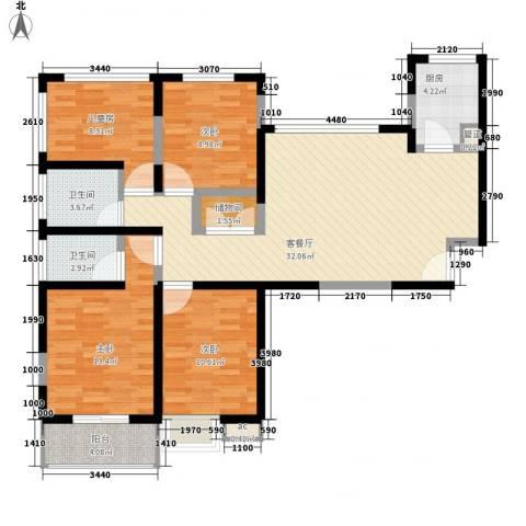 浩华香颂国际城4室1厅2卫1厨132.00㎡户型图