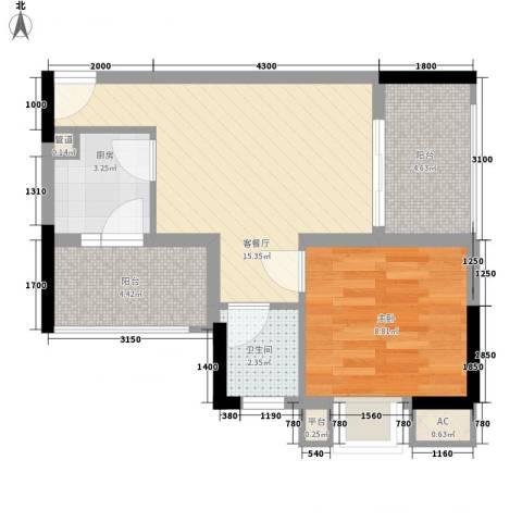 长银东郡1室1厅1卫1厨48.00㎡户型图