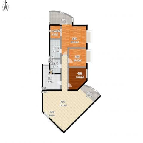 中国第一商城3室1厅2卫1厨242.00㎡户型图
