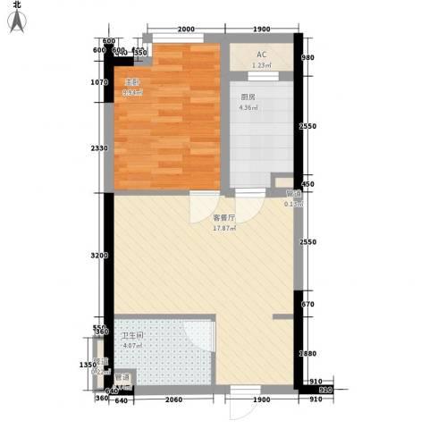 中海华庭1室1厅1卫1厨51.00㎡户型图