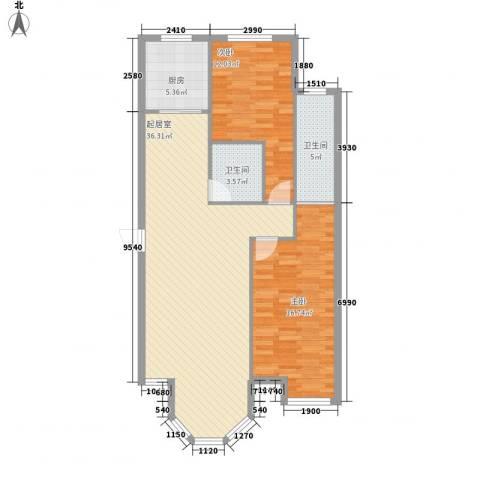 新星壹品御园2室0厅2卫1厨79.01㎡户型图
