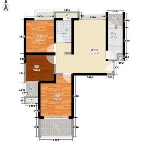 浩华香颂国际城3室1厅1卫1厨104.00㎡户型图