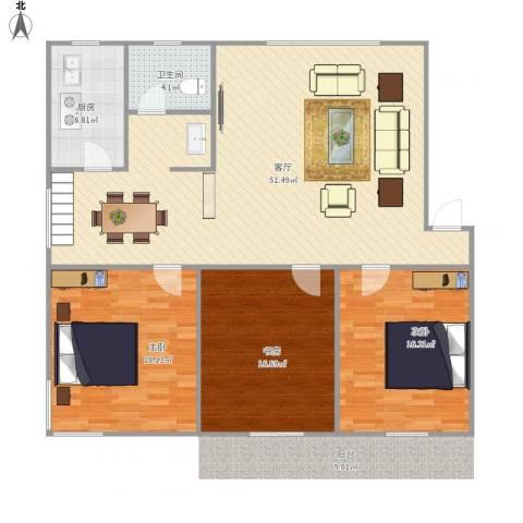 阳光花园3室1厅1卫1厨150.00㎡户型图