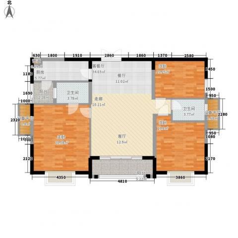 华强城・卡塞雷斯3室1厅2卫1厨116.00㎡户型图