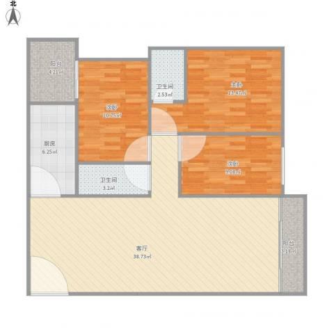 华工红棉苑5栋3室1厅2卫1厨123.00㎡户型图