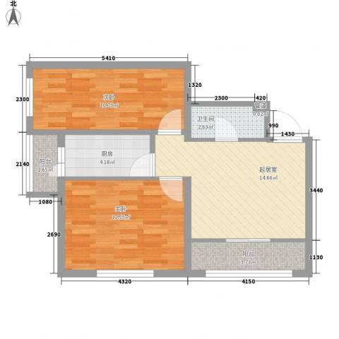 香悦蓝天下2室0厅1卫1厨83.00㎡户型图