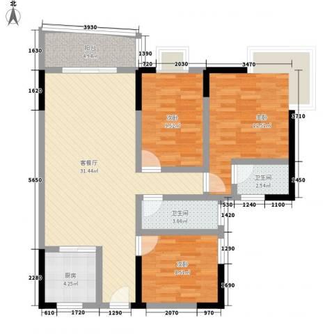 佳磊华丽大厦3室1厅2卫1厨113.00㎡户型图