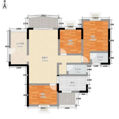 佳磊华丽大厦3室1厅2卫1厨128.00㎡户型图