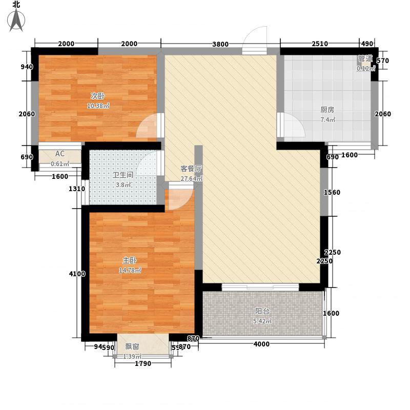 东方红名仕嘉园三期2#楼02户型2室2厅1卫1厨