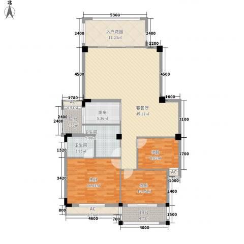 盛祥现代城3室1厅2卫1厨119.43㎡户型图