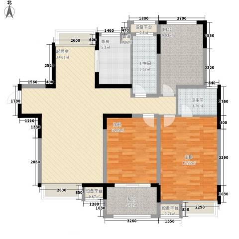 小天鹅品园2室0厅2卫1厨136.00㎡户型图