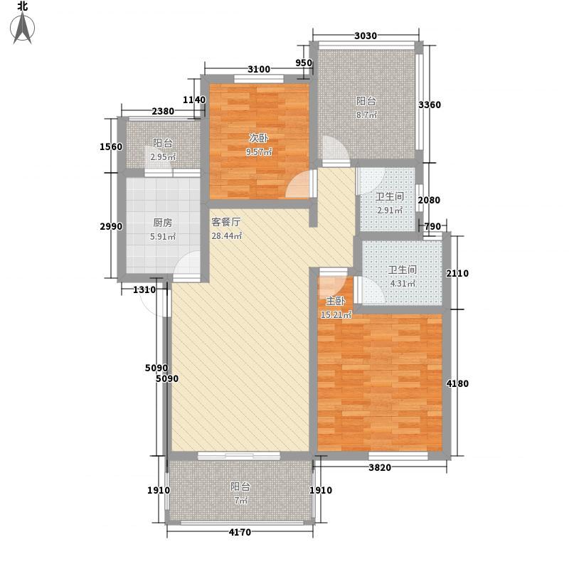源滩91.50㎡二期B4户型2室2厅2卫1厨