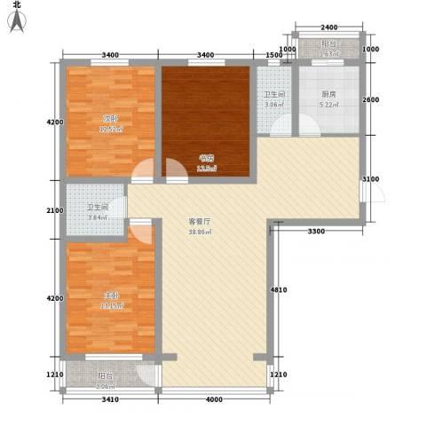 怡景名苑3室1厅2卫1厨119.00㎡户型图