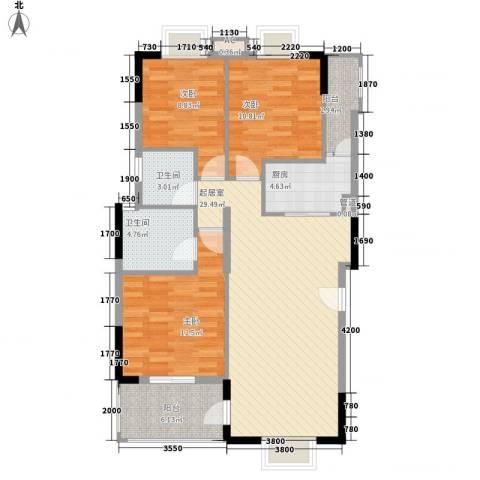 乐然水畔3室0厅2卫1厨87.00㎡户型图