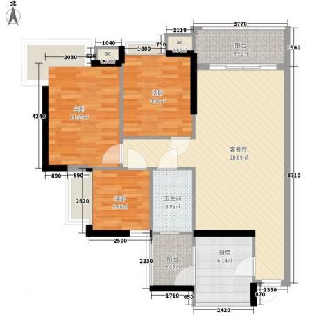 金碧领秀国际别墅3室1厅1卫1厨105.00㎡户型图