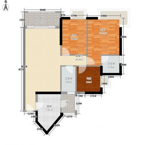 金碧领秀国际别墅3室1厅2卫1厨115.00㎡户型图