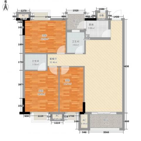 东江花苑3室1厅2卫1厨110.00㎡户型图