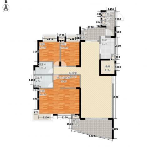 藏珑湖上国际社区别墅3室0厅2卫1厨204.00㎡户型图