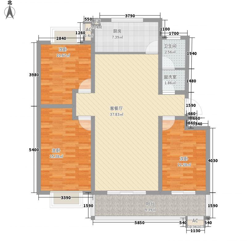 香榭丽花园135.00㎡C户型3室2厅1卫1厨