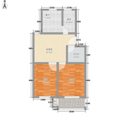 汇隆花园2室0厅1卫1厨92.00㎡户型图