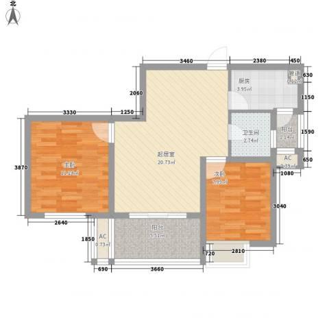 四季新城金典2室0厅1卫1厨86.00㎡户型图