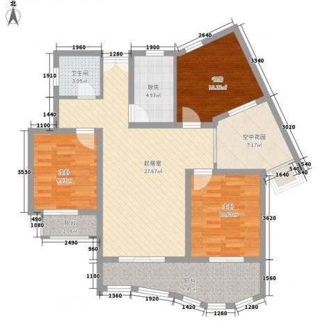 广信百度城3室0厅1卫1厨84.32㎡户型图