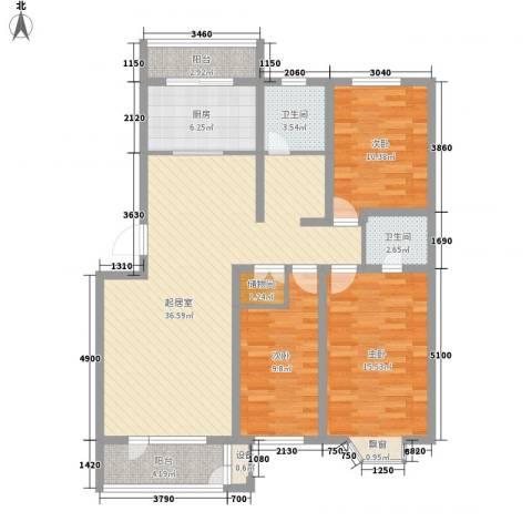 恒大城二期3室0厅2卫1厨136.00㎡户型图