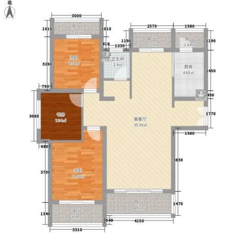 新公馆3室1厅1卫1厨123.00㎡户型图