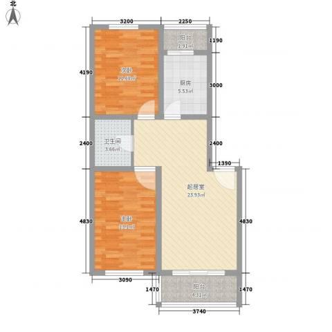 东方御景2室0厅1卫1厨87.00㎡户型图