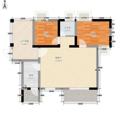 阳光棕榈园2室1厅1卫1厨74.61㎡户型图