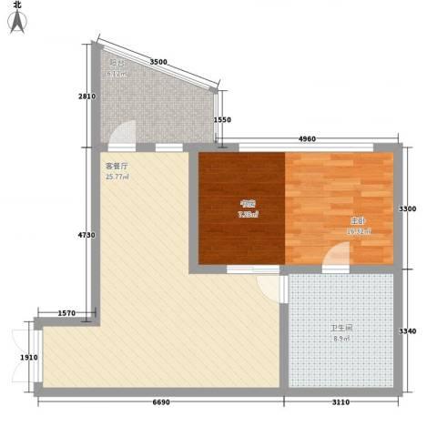 瑞苑公寓1室1厅1卫0厨81.00㎡户型图