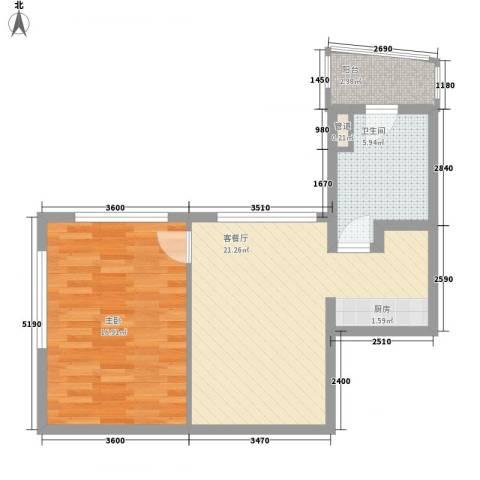 瑞苑公寓1室1厅1卫0厨67.00㎡户型图