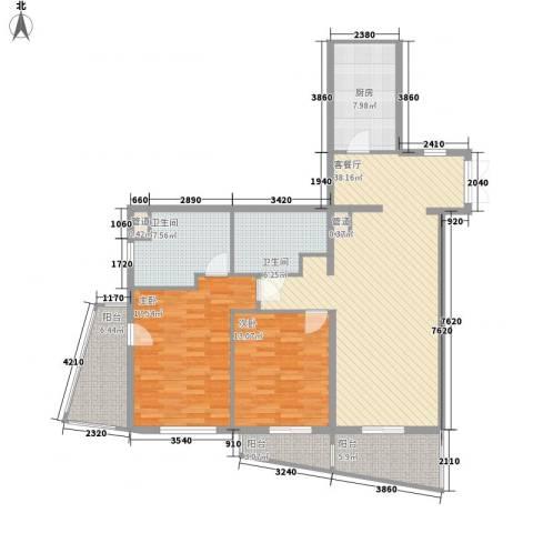 瑞苑公寓2室1厅2卫1厨150.00㎡户型图