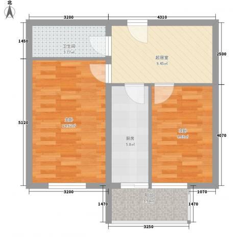东方御景2室0厅1卫1厨57.00㎡户型图