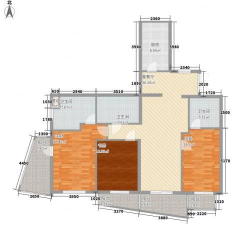 瑞苑公寓3室1厅3卫1厨181.00㎡户型图