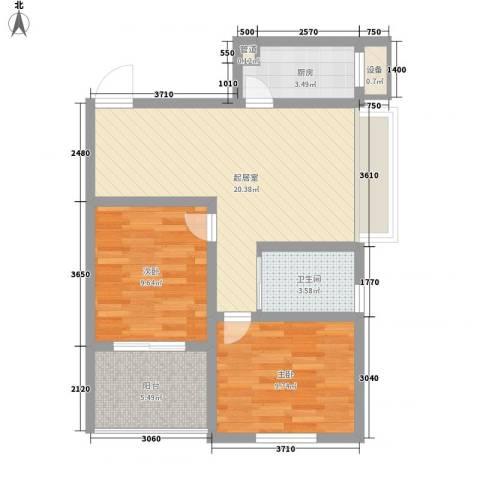新城公馆国际公寓2室0厅1卫1厨78.00㎡户型图