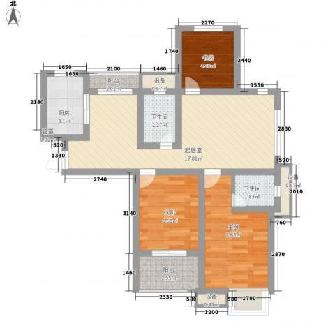 新城公馆国际公寓3室0厅2卫1厨78.00㎡户型图