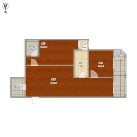 南线阁街甲35号院2室1厅2卫1厨100.00㎡户型图