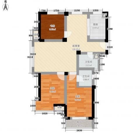 新城公馆国际公寓3室0厅2卫1厨76.00㎡户型图