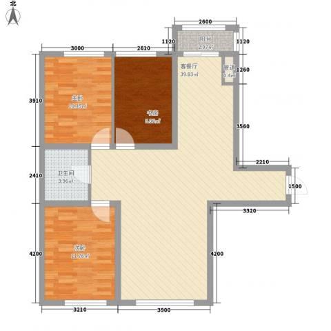 怡景名苑3室1厅1卫0厨110.00㎡户型图