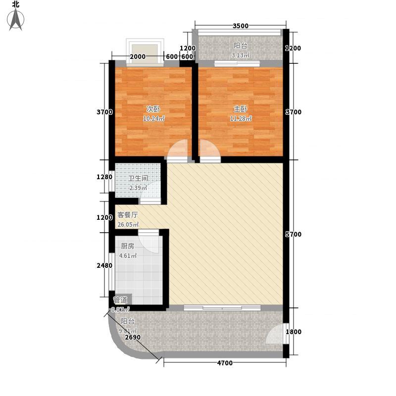 北晶德福苑86.60㎡G1户型2室2厅1卫1厨