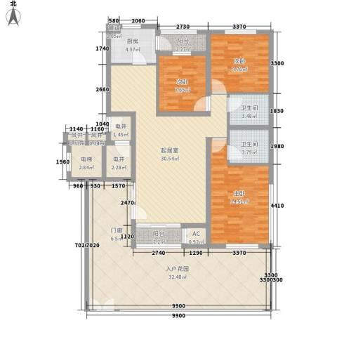 珠江国际城别墅3室0厅2卫1厨128.00㎡户型图