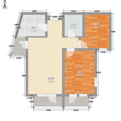 城市假日2室0厅1卫1厨60.16㎡户型图