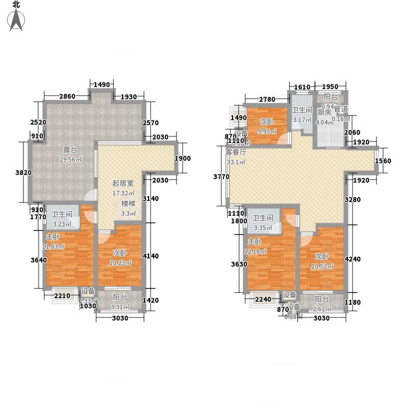 江南名苑221.42㎡A1/B6跃层户型5室3厅3卫1厨