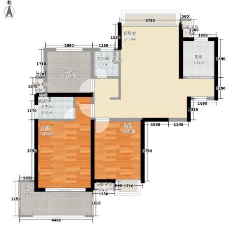 小天鹅品园2室0厅2卫1厨108.00㎡户型图