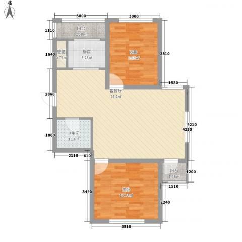 怡景名苑2室1厅1卫1厨75.00㎡户型图